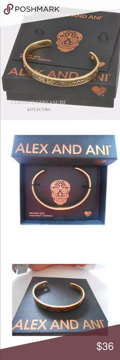 💞ALEX AND ANI Rafaelian Gold Calavera Cuff 💞 😍This beautiful Rafaelian Gold Cuff is brand new without tags and comes with an ALEX AND ANI card and box.  Price is firm unless bundled with other items in my closet/boutique.😍 Alex and Ani Jewelry Bracelets