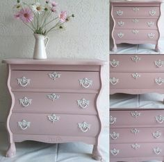 Pink dresser with white hardware Pink Chest Of Drawers, Pink Chests, Pink Dresser, Dresser With Mirror, Dream Furniture, Furniture Projects, Repurposed Furniture, Painted Furniture, Black And White Dresser