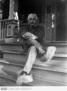 @Allison Fode - Albert Einstein in fuzzy slippers... yes.