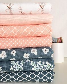 Peachy pink and navy. Quilt Material, Sewing Material, Textiles, Pink Quilts, Sampler Quilts, Fabric Combinations, Fabulous Fabrics, Quilting Tips, Fabric Patterns