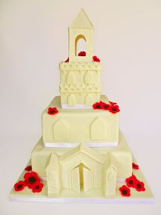 A 3 tier church christening cake with all edible decorations, for a little girl called Poppy. First Communion Cakes, First Holy Communion, Christening Cakes, Poppy Cake, Religious Cakes, Tasty, Yummy Food, Name Day, Amazing Cakes