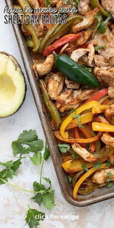 This recipe for sheet pan chicken fajitas has actually been on the blog since 2016. It may have been my first foray into sheet pan cooking, now that I think about it. But I decided to give it a bit of an update, with a few tweaks and some new photos. Dairy Free Keto Recipes, Chicken Fajitas, Sheet Pan, Keto Snacks, Dinner Recipes, Low Carb, Yummy Food, Cooking, Ethnic Recipes