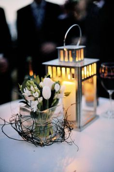 Lantern with candle centerpiece