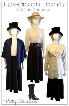 Titanic third class passenger costumes you can make at VintageDancer com