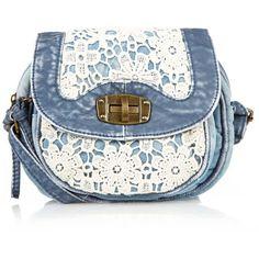 I'd like it better in a dark blue denim -- Blue Denim Crochet Across Body Bag ($20) found on Polyvore