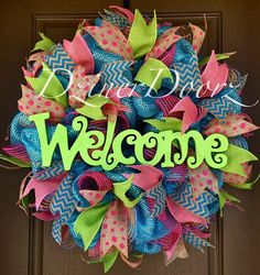 spring+deco+wreaths | Spring WELCOME deco mesh Wreath by DzinerDoorz on Etsy, $115.00