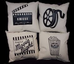 """Set of 4 THEATER PILLOWS - PERSONALIZED  12"""" x 12"""" Home theatre decor"""