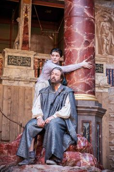 The Tempest - Shakespeare's Globe. Ariel (Colin Morgan) & Prospero (Roger Allam)