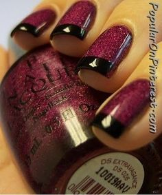 Wine Colored Nails with Black tips