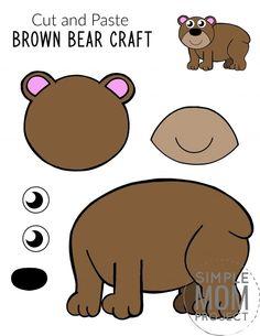 Bear Activities Preschool, Preschool Activities, Brown Bear Activities, Toddler Art, Toddler Crafts, Printable Crafts, Free Printable, Letter B Crafts, Bear Template
