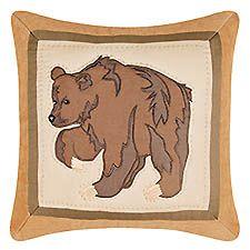"Big Sky Bear Quilted Pillow 14"" x 14"""