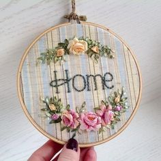 """Embroidery hoop artwork With silk ribbons embroidered Pink and yellow roses design And hand stitched """"H - embroidery patterns Ribbon Embroidery Tutorial, Floral Embroidery Patterns, Embroidery Supplies, Silk Ribbon Embroidery, Hand Embroidery Patterns, Embroidery Kits, Embroidery Stitches, Embroidery Designs, Embroidery Companies"""