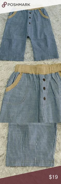Chambray pin stripes shorts. Kids Adorable and comfortable chambray pin stripes shorts.  Have pockets.  Very cute item.  This item is brand new and never used. No tags. #14002 Bottoms Shorts