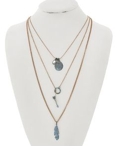 Burnished Copper Tone / Lead&nickel Compliant / Patina Metal / Leaf & Arrow / Layer / Necklace