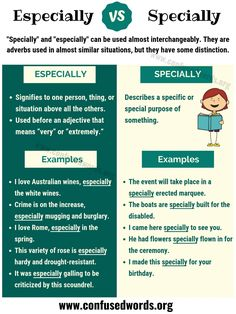 Specially or Especially - When to Use Especially vs Specially? Teaching English Grammar, English Writing Skills, English Vocabulary Words, Learn English Words, English Phrases, Grammar And Vocabulary, English Idioms, English Language Learning, Grammar Rules