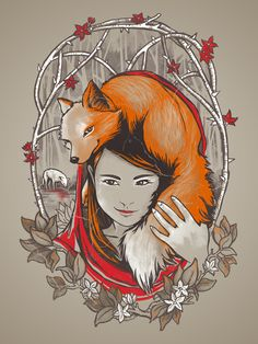 Safe In My Red Riding Hood by Jewelwing. OMG! A fox?