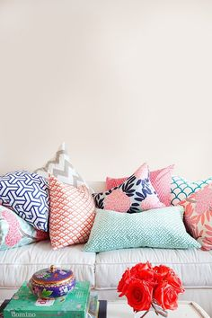 A Variety of Patterns and Textures make for a more intersting display of cushions and pillows.