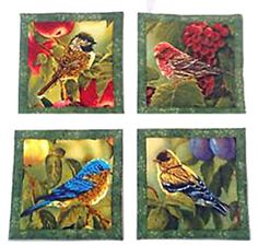 """Amazon.com: Custom & Cool {4"""" Inches} Set Pack of 4 Square """"Grip Texture"""" Drink Cup Coaster Made of Flexible 100% Cotton w/ Beautiful Delicate Song Birds In Nature Design [Colorful Blue, Brown, Red & White]: Home & Kitchen"""