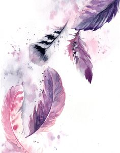 Purple Feathers Painting, ORIGINAL Watercolor Painting, Painting of feathers, purple pink watercolour art, feathers illustration by CanotStop on Etsy