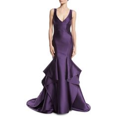 Monique Lhuillier Sleeveless V-Neck Mikado Trumpet Gown ($5,995) ❤ liked on Polyvore featuring dresses, gowns, plum, plunging v neck dress, v neck evening dress, purple gown, purple evening gowns and plum purple dress