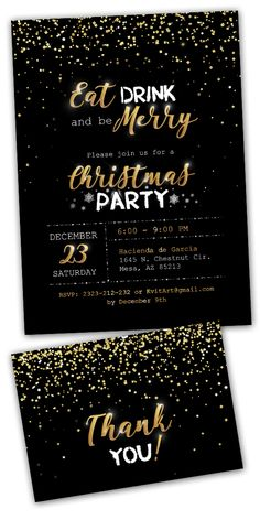 Christmas Party Invitation Eat Drink and Be Merry!  #christmas #christmasparty #party #christmascard #christmasdecor #partyidea #eatdrink #eatdrinkandbemerry #bemerry #merrychristmas #merrychristmas2018 #goldenshower #blackandgold #glitter #sparklingchristmas