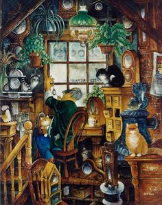 The Clockman by Bill Bell ~ whimsical cats