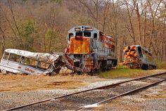 Abandoned Bus & Train Crash Site