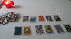 Thoth Tarot cards - ordered from Germany. And one of the layouts I invented some days ago. :)