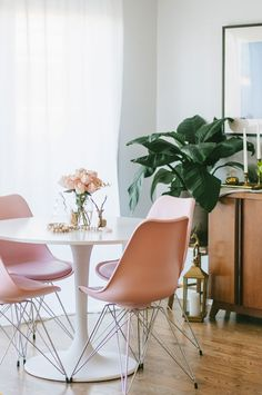 Pink eiffel chairs/ dining room via Pink Little Notebook