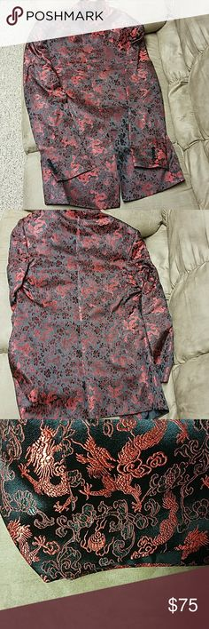 MEN'S ASIAN RED DRAGON TUNIC SUIT JACKET Beautiful men's Asian style jacket. In great condition, jacket has no tags so not sure what size or kind of material,  outer material is silk like with embroidered dragons, see photos for measurements Suits & Blazers Sport Coats & Blazers