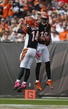 Bengals quarterback Andy Dalton and wide receiver A.J. Green celebrate their second-quarter touchdown.