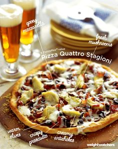 Fresh mushrooms, creamy artichokes, gooey mozzarella cheese, and crispy prosciutto make this pizza healthy delicious. Try this 9 PointsPlus value Pizza Quattro Stagioni tonight!