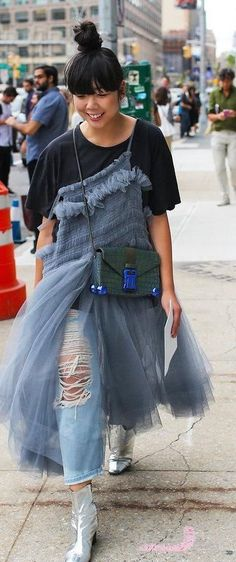 Christopher Kane Street Style, Suzie Bubble, Denim, Chris Kane Bag, SS17.