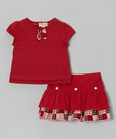 Love this Red Plaid Bow Top & Tiered Skirt - Toddler & Girls on #zulily! #zulilyfinds