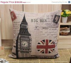20% Off QUICK SALE Big Ben Clock UK Flag Linen by LilleHomeIdeas