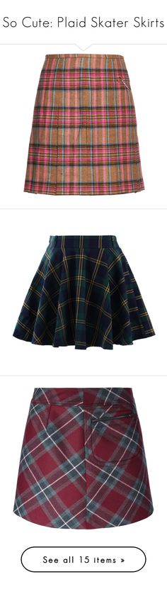 """So Cute: Plaid Skater Skirts"" by polyvore-editorial ❤ liked on Polyvore featuring plaidskaterskirts, skirts, mini skirts, multi, brown pleated skirt, short mini skirts, short skirts, pleated skirt, wool plaid mini skirt and bottoms"
