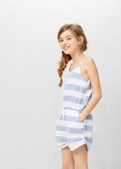 Cotton short jumpsuit -  Kids | MANGO Kids Indonesia