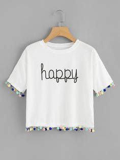 Shop Pom Pom Trim Letter Print Tee at ROMWE, discover more fashion styles online. Stylish Outfits, Cool Outfits, Momma Shirts, Crop Top Outfits, Clothing Hacks, Kids Outfits Girls, Printed Tees, Diy Clothes, Cool T Shirts