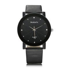 Sale 29% (3.99$) - WOMAGE Fashion Ladies Rhinestone Round Dial PU Quartz Wristwatch