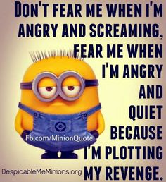 Don't fear me when I'm angry and screaming, fear me when I'm angry and quiet because I'm plotting my revenge.