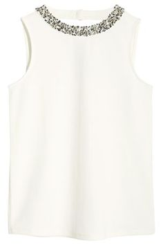 Buy Embellished Necklace Textured Jersey Top from the Next UK online shop