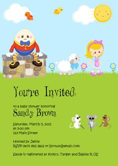 39 best mother goose baby shower images on pinterest shower ideas u print custom mother goose nursery rhyme baby shower invitation boy girl diy proceeds filmwisefo