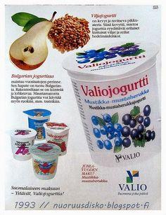 Valiojugurtit - Yksi 1990-luvun alkupuolen uutuus olivat viljajogurtit. Niitä oli noissa pikareissa, joiden taustasävy on vaaleansininen.