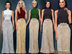 Crystal Waistband Turtleneck Gown by Harmonia at TSR via Sims 4 Updates The Sims, Sims Cc, Sims 4 Dresses, Formal Dresses, Sims 4 Clothing, Female Clothing, Sims 4 Update, Sims 4 Custom Content, Outfit Sets