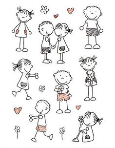 Drawing people kindergarten stick figures ideas for 2019 Doodle Drawings, Easy Drawings, Doodle Art, Doodle Kids, Sketch Notes, Stick Figures, Pebble Art, Stone Art, Stone Painting