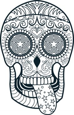 Sugar Skulls – Calavera drawings and coloring pages. History and meaning of sugar skulls is connected with Mexican celebration of the Day of  the Death.
