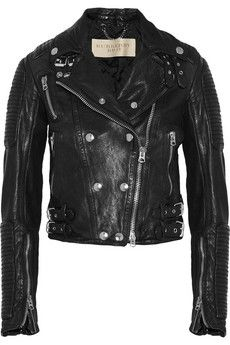 Cropped leather biker jacket by: Burberry Brit