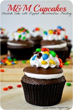 Cupcakes de choco con frosting de marshmallow