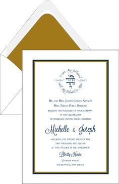 Elegant White Navy and Gold-Border – Wedding Invitation