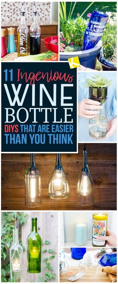 Wine Bottle Lanterns, Wine Bottle Glasses, Mini Wine Bottles, Recycled Wine Bottles, Wine Bottle Art, Painted Wine Bottles, Wine And Liquor, Bottle Lights, Bottles And Jars